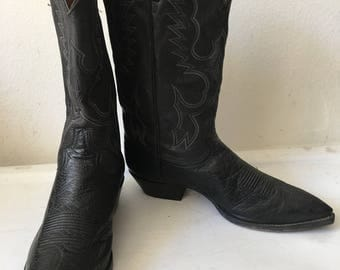 Black men's boots real ostrich leather durable leather, with embroidery vintage style western cowboy boots old retro boots men's-10 1/2-11.
