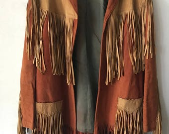 Western Cowboy Mid Length Vintage Orange Soft Genuine Suede Jacket Fringed Country Style Women's Size Small.
