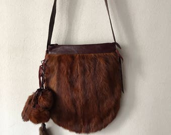 Amazing handmade bag from real mink fur smooth and soft fur with fur decoration stylish bag steep bag new collection has size-medium.