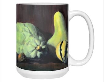 Large Autumn Coffee Mug, Fall Pumpkins and Gourds, Thanksgiving Mug, Holiday Mug Gift