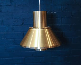 A Mid Century Vintage Danish Gold Pendant Light by renowned designer Jan Hammerborg for Fog and Morup - 1960's