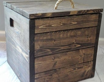 SALE Square Wooden Box / Storage / Gift / Personalized / Toy storage / Craft Storage / Storage Bin / 12x12x12 / Small Wood Box / Gifts for h