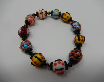 Bracelet with Murano glass beads, free shipping