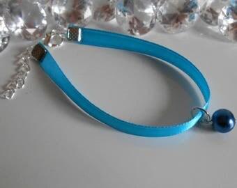 Navy bracelet wedding adult/child blue satin ribbon and pendant