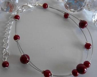 Bracelet wedding 2 rows Burgundy pearls