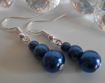 Trio of dark blue Pearl wedding earrings