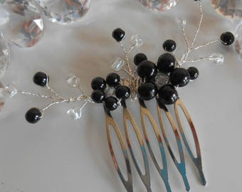 Black beaded flowers wedding hair comb