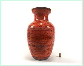 Vintage SCHEURICH 241-47 Vase, Floor Vase · West German Pottery, Fat Lava, WGP · orange, red, black · Jungalow Style, Psychedelic, 60s, 70s