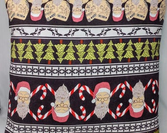 Tatted Santa Pillow Cover - 12x12 - Hipster Santa - Tattoo - Christmas - OOAK - Ready to Ship