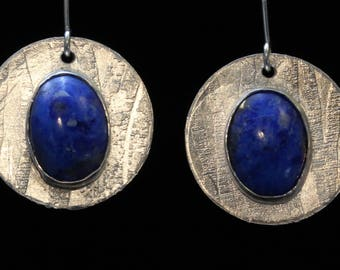 Sterling Silver Etched Earrings with Lapis Lazuli Stones (030318-017)