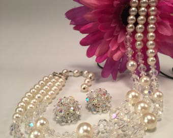 Vintage Crystal & Simulated Pearl 3-Strand Choker Necklace w/Matching Clip Earrings