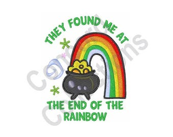 Pot of Gold - Machine Embroidery Design, Rainbow
