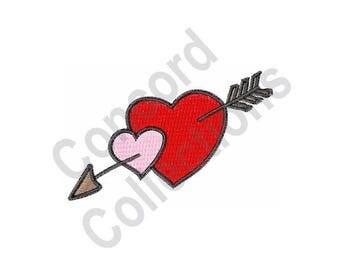 Hearts With Arrow - Machine Embroidery Design, Hearts,Arrow
