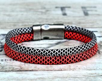 Womens rope bracelet, women braided bracelet, women pink bracelet, pink gray bracelet, pink rope bracelet, womens sport bracelet, women gift