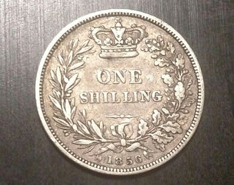 1856 British Sterling .925 Silver One Shilling, very nice condition! High value!