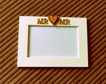 Mr & Mr White Frame with Gold Glittery Wooden Embellishments for Gay Wedding/Gift/Home