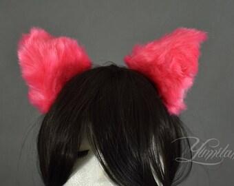 Pink Cat Ears | Huge Clip on Cat Ears | Cat Ears | Clip on Ears | Fluffy ears | Kitty Ears | Anime Ears | Fur Ears | Fluffy Ears