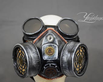 Silver Steampunk Mask with goggles| Steampunk Respirator | Gas Mask | Stalker mask | Dust Mask | Cosplay Mask | Burning Man Mask