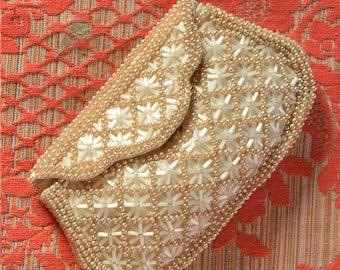 Vintage Pearl Beaded Bridal Clutch-Ivory Wedding Purse-Evening Bag