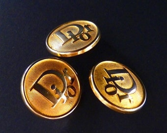 "Vintage DIOR Buttons, Gold Tone, Size 0,8"" 2 cmCHRISTIAN DIOR High Fashion, For Dior Jewelry, Dior Earrings, Dior Ring, Price for 1"