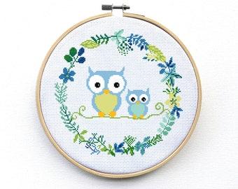 Modern Owl Cross Stitch Pattern - Mama & Baby Cross Stitch Design - Nursery Pattern - Pdf - Instant Download