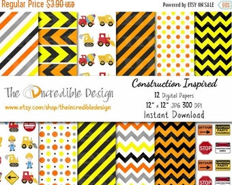 50% OFF SALE Construction Digital Paper Pack, for scrapbooking, Making Cards, Tags and Invitations / Instant Download