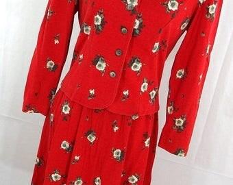 ON SALE Vintage Lanz Originals 80s Skirt Suit Jacket Set 4P 6P Petite Red Floral Button Down front A-Line Skirt Elastic Waist S1