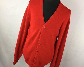 ON SALE Vintage 80s Mens Cardigan L Large Red V Neck Button Down Front Acrylic Jantzen Classic Long Sleeve P2