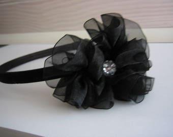 Headband black velvet, black organza flower, handmade