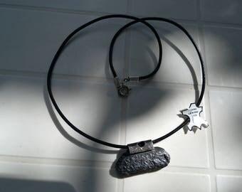 men black leather chokers necklace, men, gunmetal, Upcycled pendant Choker '