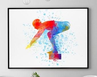 Swimming Print, Swimming Boy, Swimmer Gift, Swimmer Art, Swimming Team, Swimming Theme, Swimming Pool Wall Art, 8x10 Print (N065)