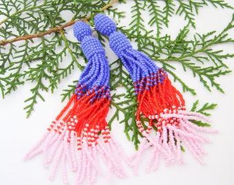 Beaded tassel earrings Blue red pink bead earrings  Long beaded tassel earrings Oscar Fashion earrings Ombre beaded tassel