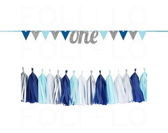 1st BIRTHDAY Banner | Happy Birthday Garland | Birthday Party Decoration | Blue and Silver Party Garland | ONE Happy Birthday Banner