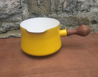 Dansk Yellow Sauce Pan Pot Spouted Pour Spout Wood Handle Mid Century Modern Vintage Retro Danish Kitchen Decor Cookware Stovetop Denmark
