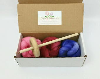 Learn to Spin Kit - Mini Kit - Drop Spindle + Fiber Bundle - Hand Dyed US Wool Roving - 1/2 (.5) oz each of 3 Colors US Wool + Spindle
