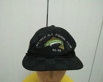 Rare Vintage Mt. Tech FLY FISHING Club 92-93 Cap Hat Free size fit all Made in USA
