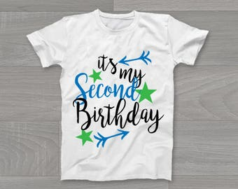 It's My Second Birthday Boys Kids T-Shirt, Childrens Toddlers T Shirt Top.