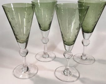Crystal Champagne Flutes Wine Glasses Green w Etched Vines SET OF 4