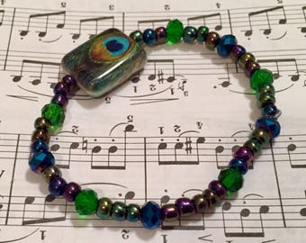 Peackock Colors Swarovski Crystal & Glass Beaded Bracelet