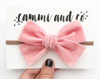 Extra chubby velvet bow headband or hair clip