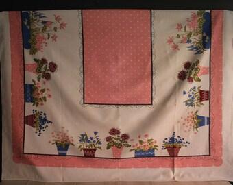 Vintage Potted Flowers Tablecloth, Vintage Potted Flowers Border Tablecloth, Retro Floral Tablecloth, Vintage Linens
