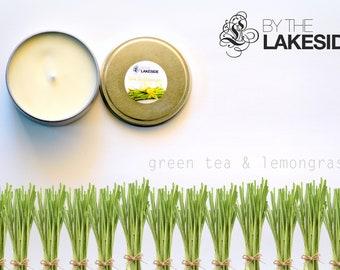 Green Tea & Lemongrass: 8 oz Re-usable Silver Tin. Natural Soy Wax Candle.