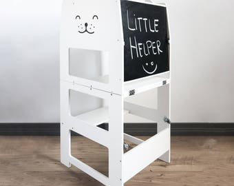 Standing tower for toddler / WHITE / Little tower/ kitchen tower / kitchen helper / step stool / Montessori learning stool / kids table /