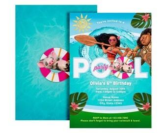 Moana Pool Party Invitation - Moana Invitation - Pool Party Invitation