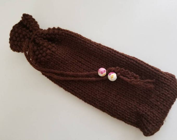 Hand Knitted Drawstring Pouch