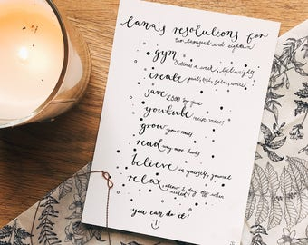 Bespoke New Years Resolutions with Handwritten Calligraphy, A5
