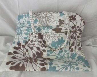 14 1/2 x 17 Teal and Brown Canvas Tote Bag