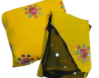 Women Fabric Gift Dressmaking Yellow Material Home Decor Embroidered Gift Fabric Sewing Tunic Top Dupatta Set Curtain Drape Evening Fabric