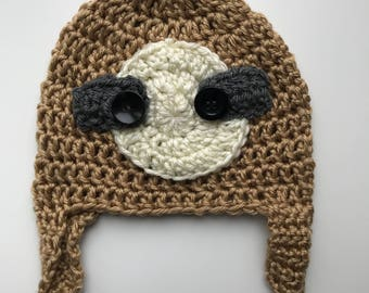 Sloth beanie hat! All ages neutral crochet hat with sloth face and ear flaps
