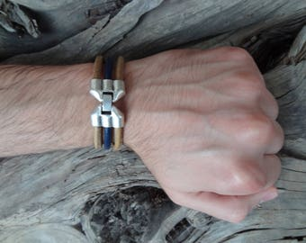 EXPRESS SHIPPING,Men's Dark Blue Camel Leather Bracelet, Leather Jewelry, Silver Bracelet,Threefold Cuff Bracelet, Valentine's Gifts